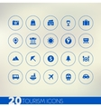 Thin simple tourism blue icons on light background vector