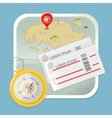 Travel map tickets compass icon vector