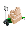 A pallet truck loading stack of shipping boxes vector