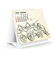 October 2014 desk horse calendar - vector