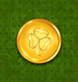 Golden coin with three leaves clover grunge st vector