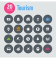 Flat minimalistic tourism icons on dark gray vector