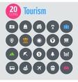 Flat minimalistic tourism icons on dark gray vector