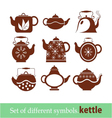 Set of symbols kettle teapot vector
