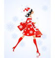 Fashion young woman santa with purchase vector