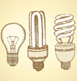 Sketch economic light bulb in vintage style vector