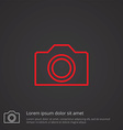 Camera outline symbol red on dark background logo vector