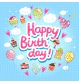 Happy birthday card with cupcakes and balloons vector