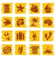Square grungy tropical buttons vector