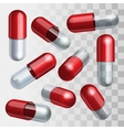 Set of red and transparent medical capsules in vector
