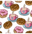 Seamless background with cup of coffee and donuts vector