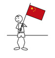 Stick figure china flag vector