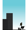 Bird in front of city vector