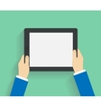 Business man holds holding tablet computer vector