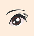 Beautiful brown female eye on beige background vector