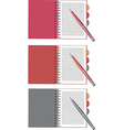 Notebook and pen set vector