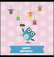 Birthday party card with cute owl vector