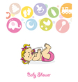 Baby girl with baby bottle vector