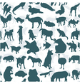 Seamless of silhouette set of animals vector
