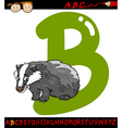 Letter b for badger cartoon vector