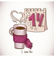 Greeting card with cup of tea in a scarf vector