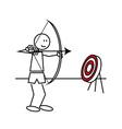 Stick figure archery vector