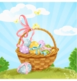Basket with easter eggs on the lawn vector