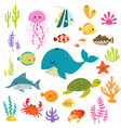 Cute underwater world vector
