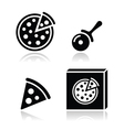 Pizza icons set with reflections vector