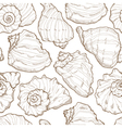 Hand drawing seashell seamless vector