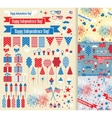 Set of design elements for independence day vector