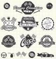 Retro race car champion labels vector
