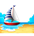 A boat at the beach vector