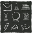 Education icons set on old black board vector