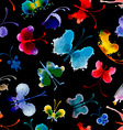 Seamless pattern of butterflies from watercolor vector