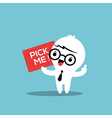 Business man cartoon with pick me sign board vector