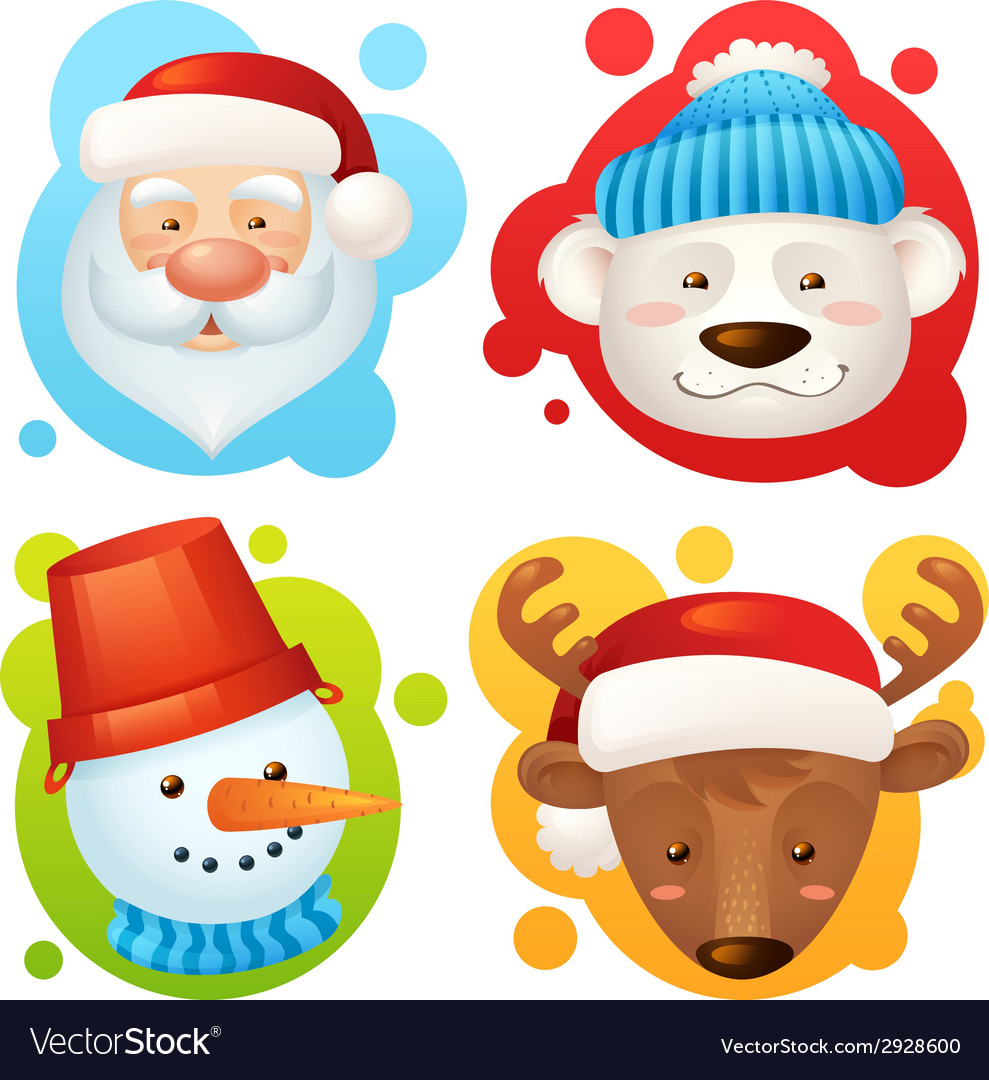 Christmas characters set vector | Price: 1 Credit (USD $1)