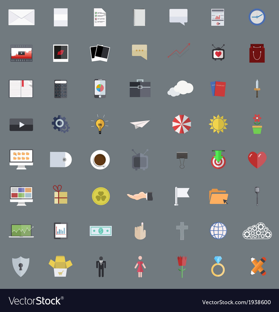 Flat modern icons set eps 10 vector | Price: 1 Credit (USD $1)