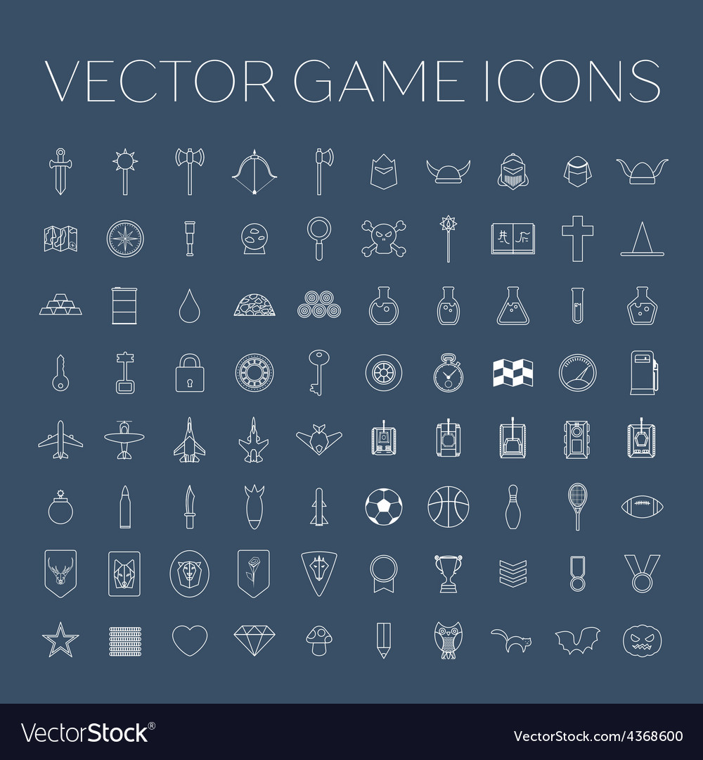Line art game icons set vector | Price: 1 Credit (USD $1)