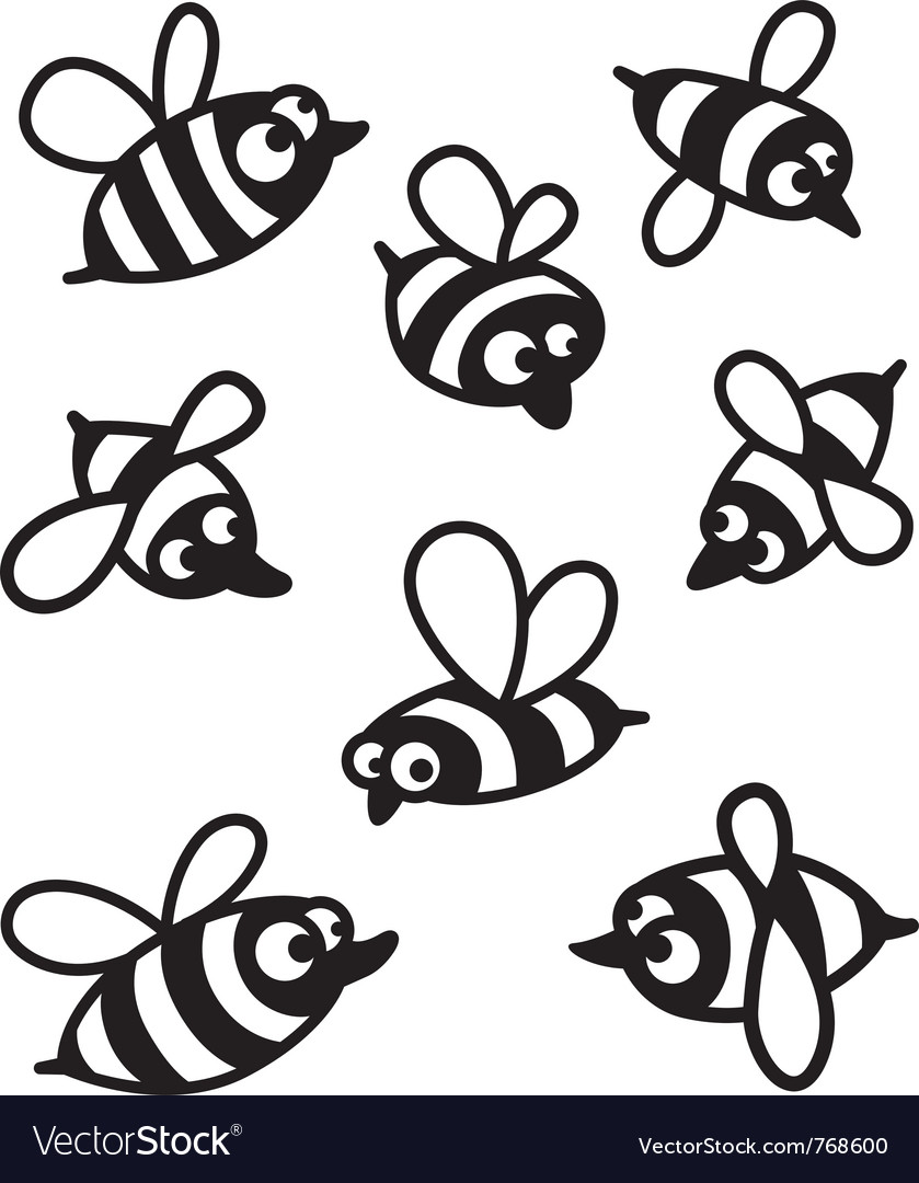 Set with cute bee silhouettes vector | Price: 1 Credit (USD $1)