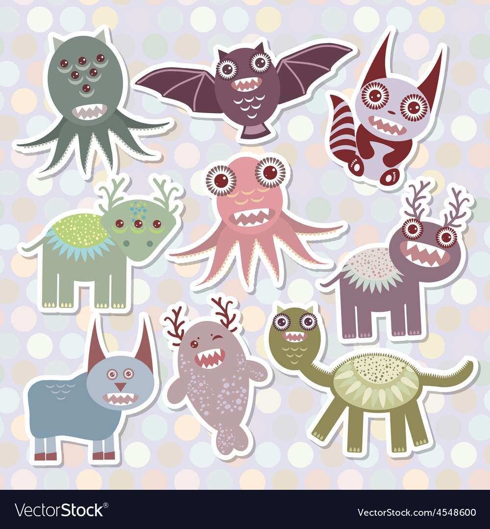 Sticker set funny monsters collection on polka dot vector | Price: 1 Credit (USD $1)