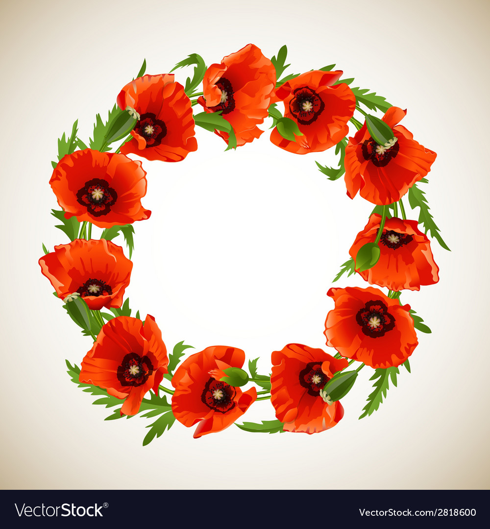 Wreath of poppies vector | Price: 1 Credit (USD $1)