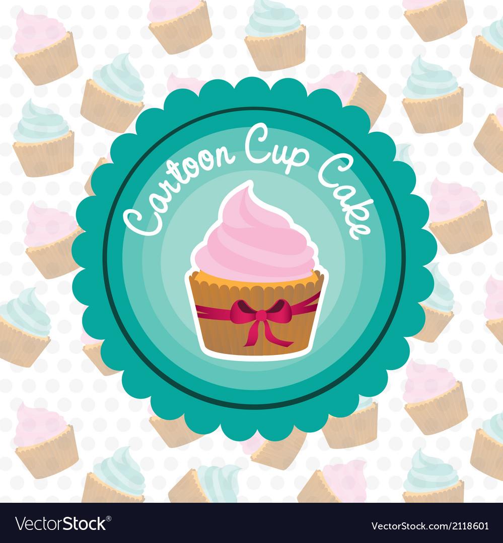 Basic cupcake label on bottom of cupcake pattern vector | Price: 1 Credit (USD $1)