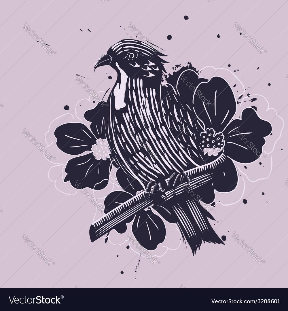 Bird with flowers vector | Price: 1 Credit (USD $1)