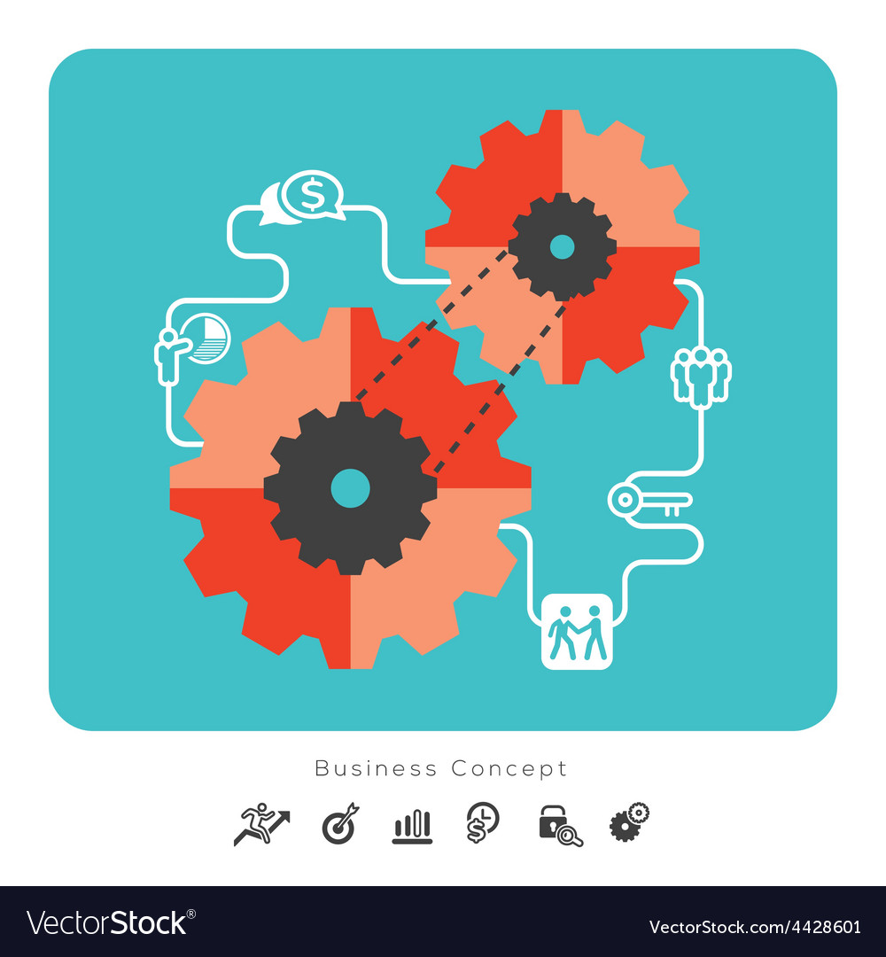 Business concept icons with gear vector | Price: 1 Credit (USD $1)
