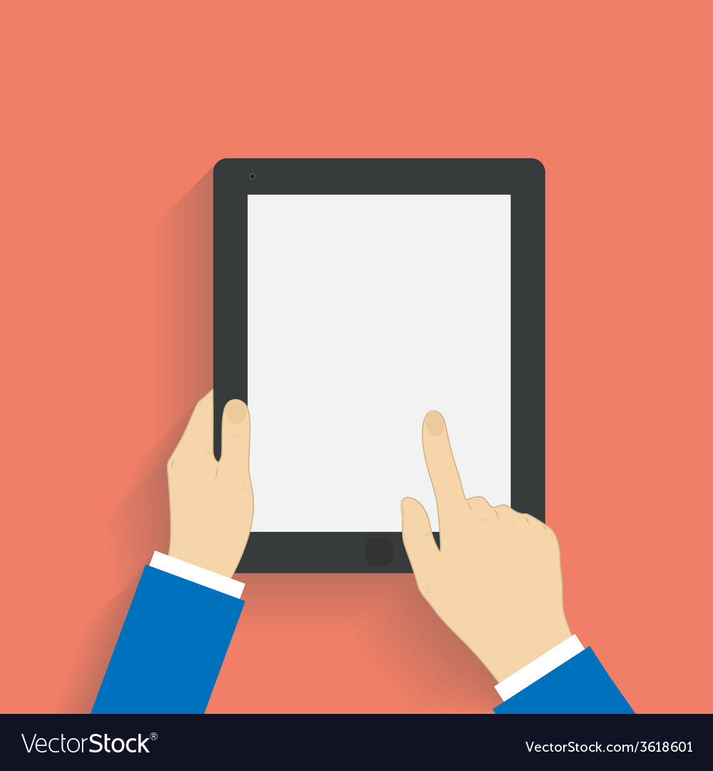 Business man holds and manages tablet computer vector   Price: 1 Credit (USD $1)
