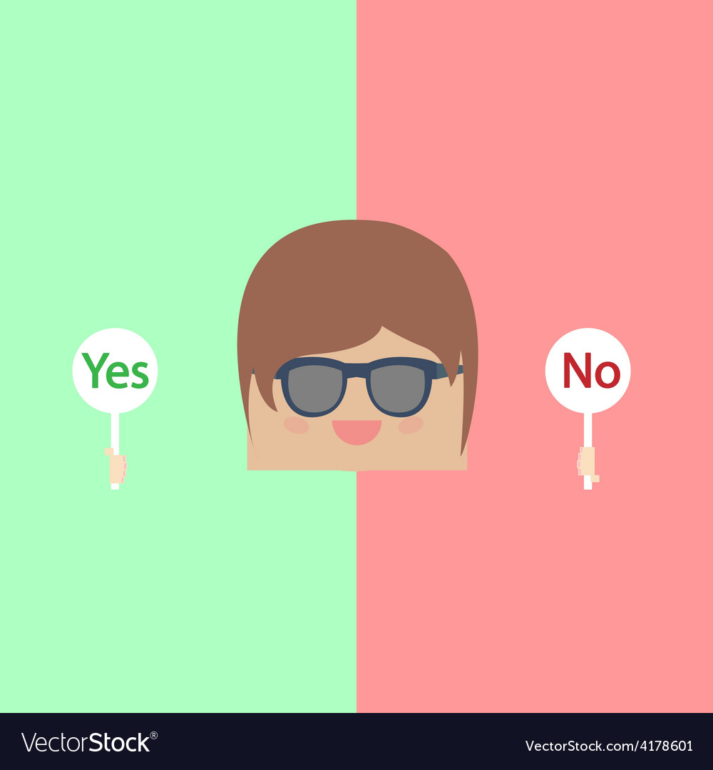 Cartoon doodle businessman are thinking yes and no vector | Price: 1 Credit (USD $1)