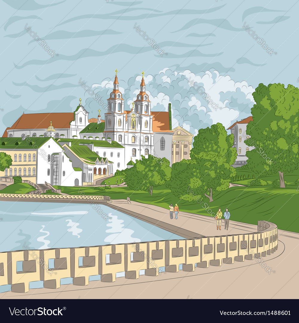 Cityscape with church and river trinity suburb min vector | Price: 3 Credit (USD $3)