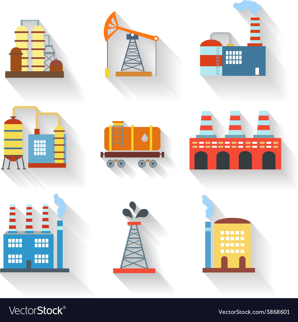 Industrial and building icons flat style vector | Price: 1 Credit (USD $1)