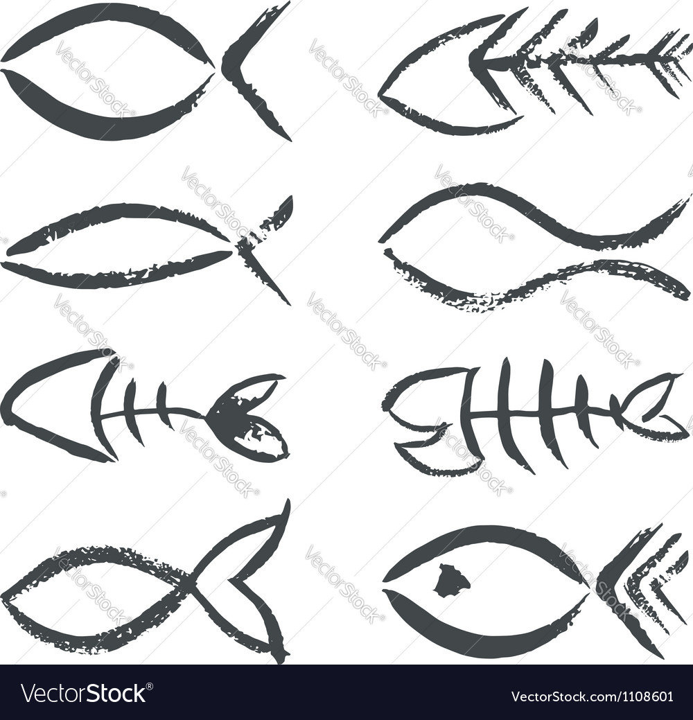 Isolated hand drawn fish signs vector | Price: 1 Credit (USD $1)